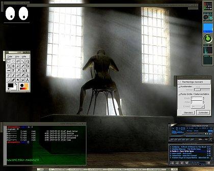 [Screenshot: Fluxbox-Desktop unter Gentoo-Linux]