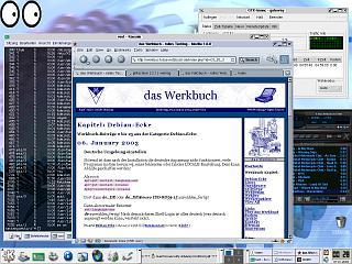 [Screenshot: Debian Woody unter KDE3]