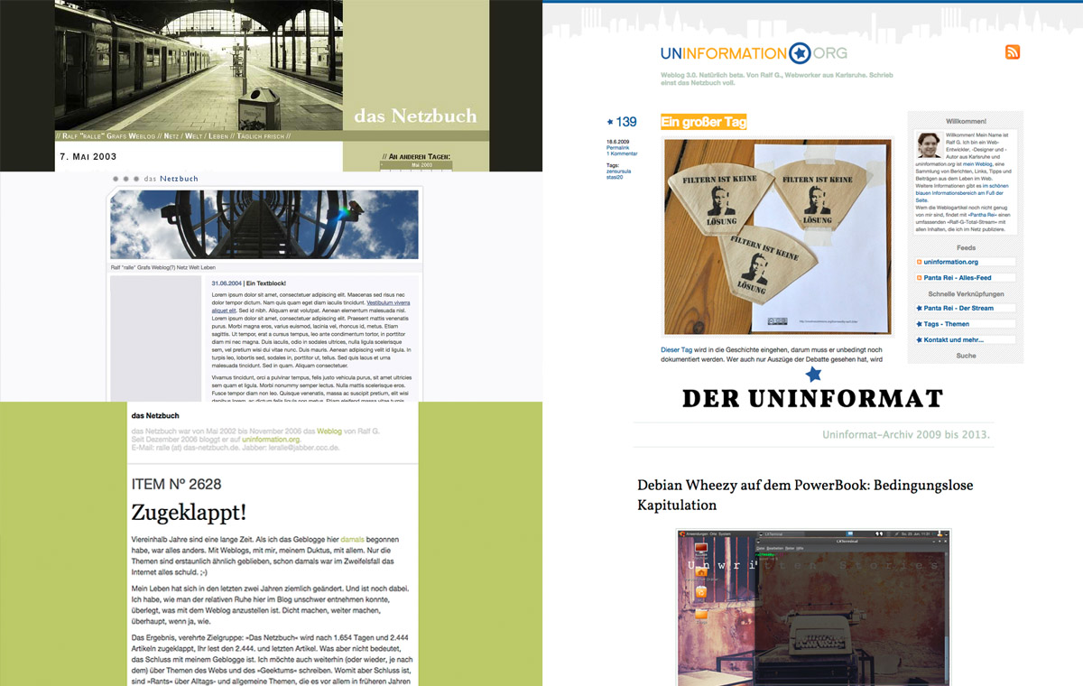 Screenshots 15 Jahre Blog