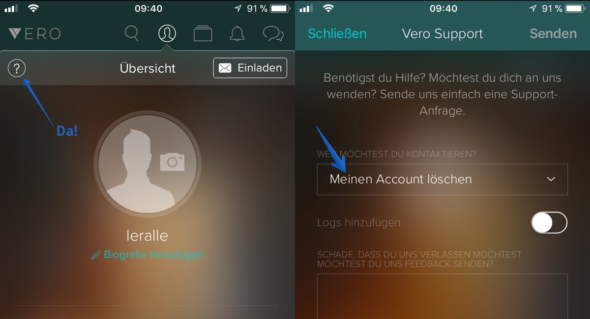 Screenshot Vero